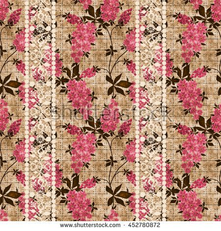 Floral vintage seamless pattern in retro style, cute red,  pink flowers beige…