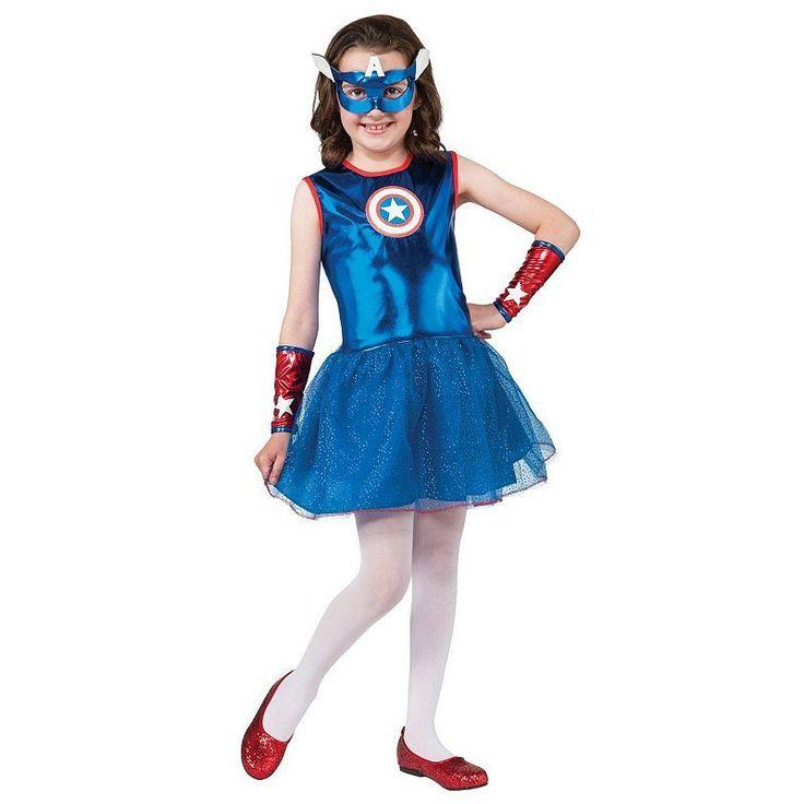 Marvel Captain America Costume - Kids, Girl's, Size: 8-10, Blue