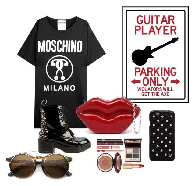 """""""Rock Chic Look #2"""" by marriahg ❤ liked on Polyvore featuring Moschino, Jeffrey Campbell, Diane Von Furstenberg and Charlotte Tilbury"""