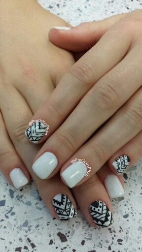 Aztec gels black and white nails