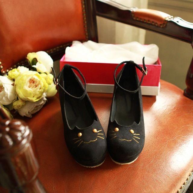 Printemps et automne mode filles chat chaussures léopard coins d'impression unique chaussures plate - forme chaussures femmes mignonnes chaussures de chat