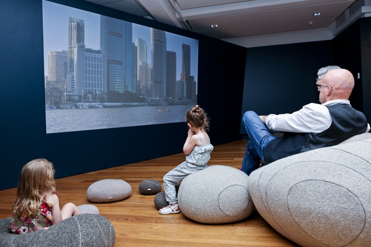 Relax on our gorgeous pebble cushions. http://www.museumofbrisbane.com.au/