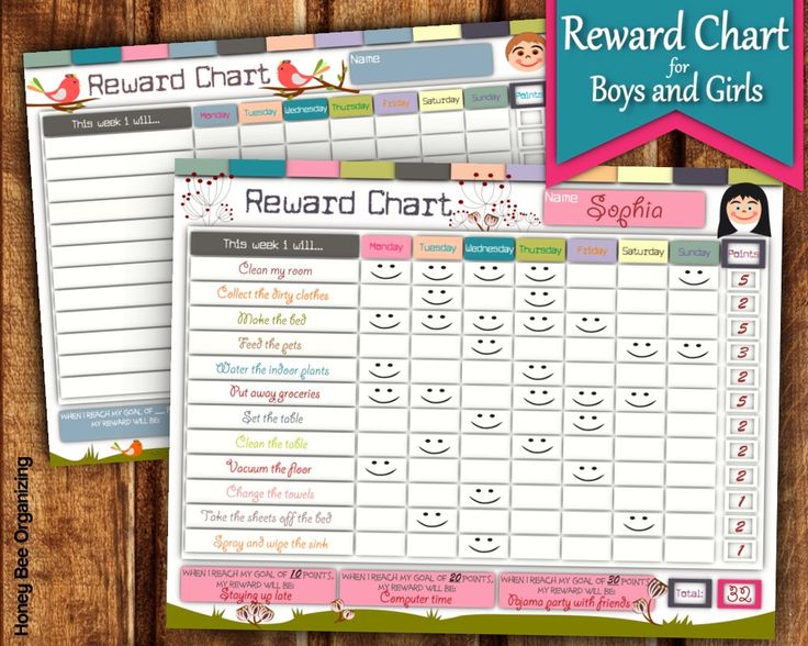 Printable Reward Chart For Girls And Boys   Kidu0027s Reward Chart Template    Editable Behavior Charts