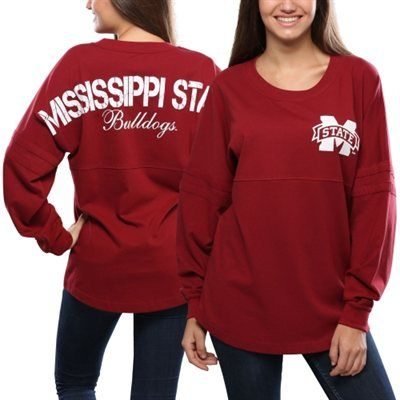 Mississippi State Bulldogs Women's Pom Pom Jersey Oversized Long Sleeve T-Shirt - Red