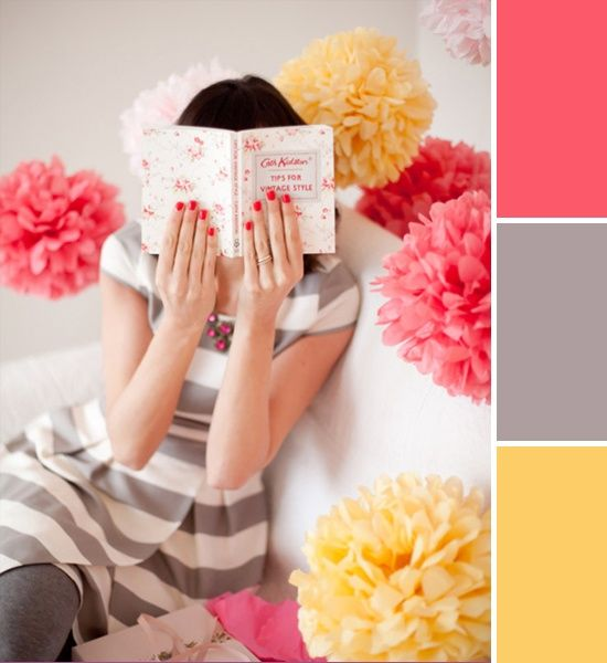 Gray, yellow, and coral color palette