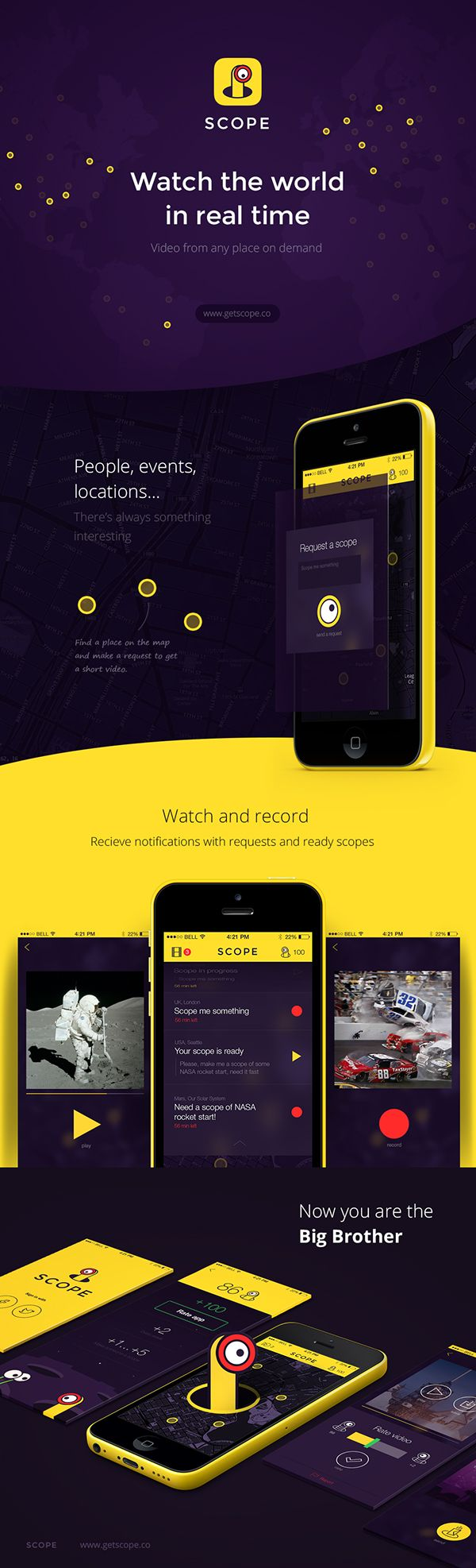 SCOPE - Social Video Messenger by Leonid Vazniuk, via Behance