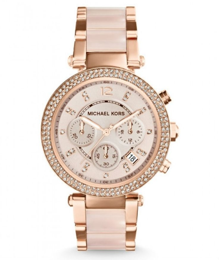 MK5896 I like the rose gold and the light pink mixed together. whats great about this watch is the crystals on the outside of the watch, making it girly