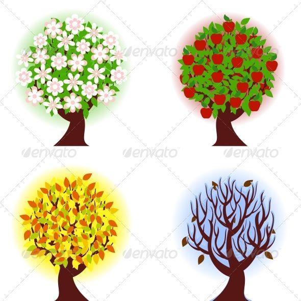 Four seasons of apple tree. - Seasons/Holidays Conceptual