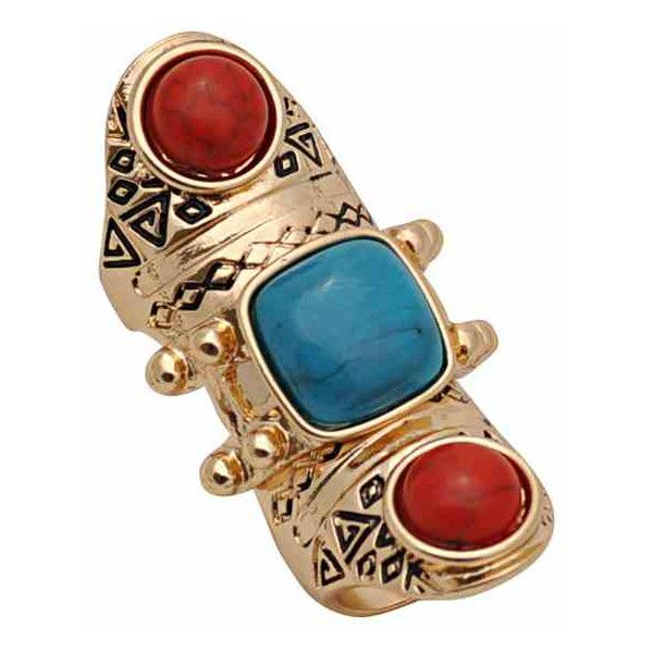Stone Tribal Aztec Bohemian Joint Amour Ring ($15) ❤ liked on Polyvore featuring jewelry, rings, accessories, bijoux, anillo, aztec ring, stone jewellery, bohemian rings, boho jewelry and stone rings