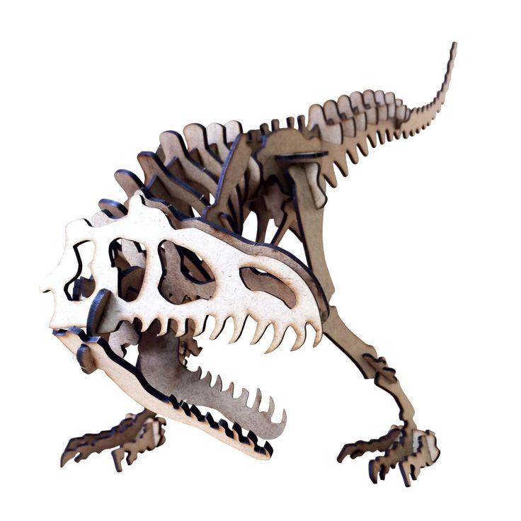 Quebra Cabeça 3D com Corte e Gravação a Laser Cia Laser Dinossauro Velociraptor - 1028 - CasaDaArte
