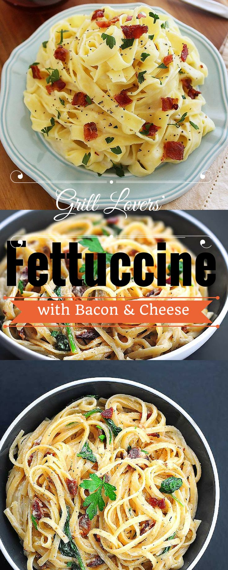 Grill Lovers' Amazing Fettuccine with Bacon and Cheese Recipe #recipes #foodporn #foodie