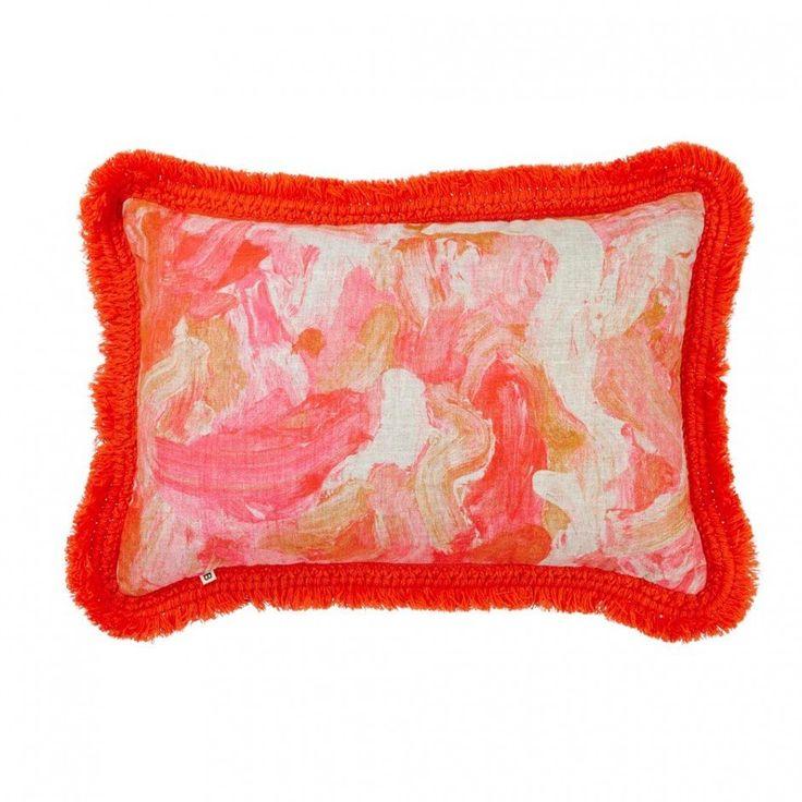 Bonnie & Neil | Oil Paint Linen Cushion 60cm | Orange