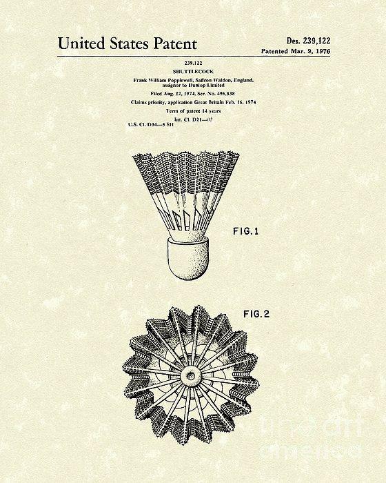 Shuttlecock 1976 Patent Art