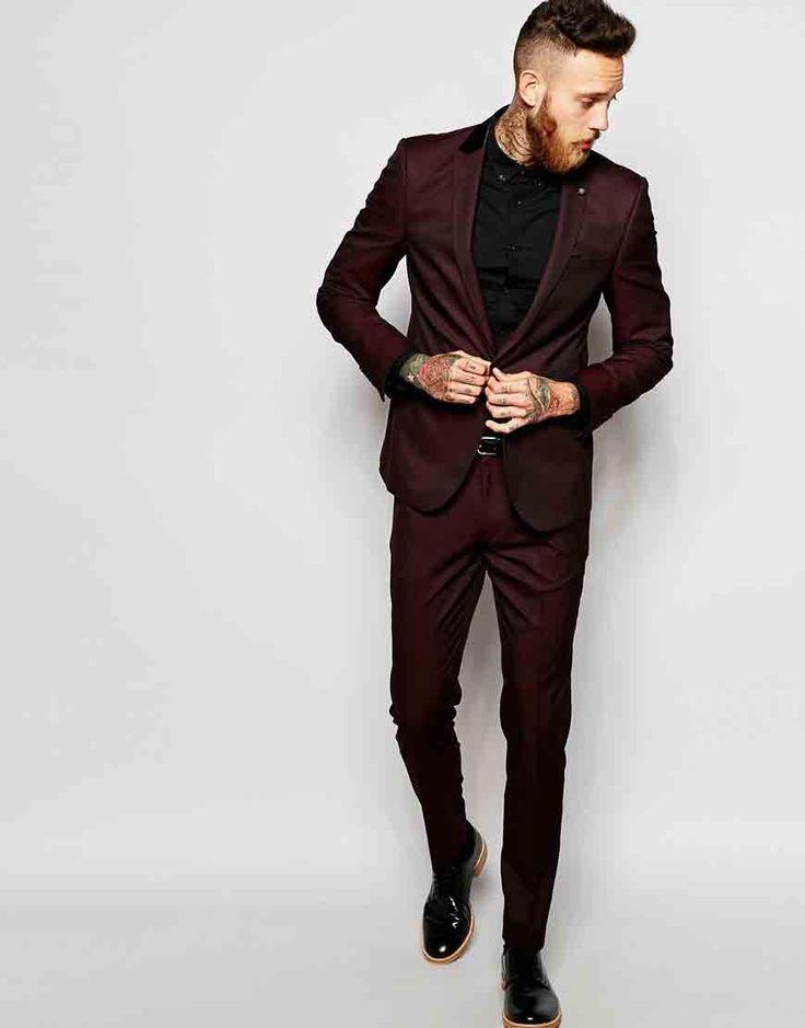 Image 1 ofASOS Slim Suit in Burgundy Tonic