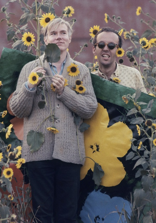 Andy Warhol (and Robert Indiana), by William John Kennedy, 1964.