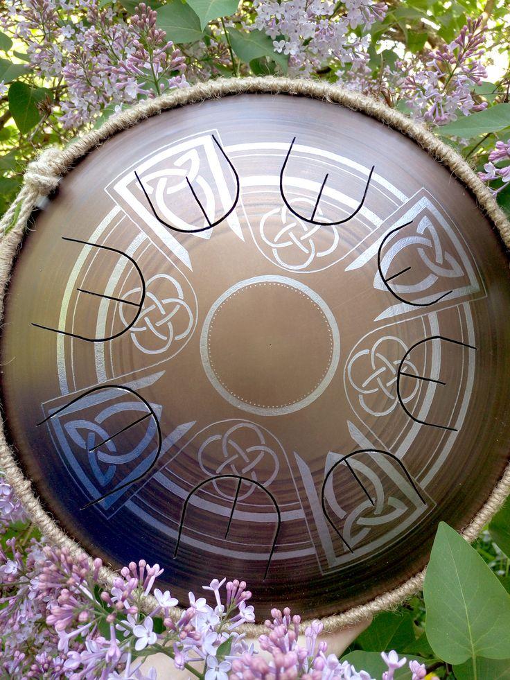 "GUDA drum MINI Overton ""Celtic Cross"" with rope decoration, hand made music instrument, steel tongue drum, handpan"