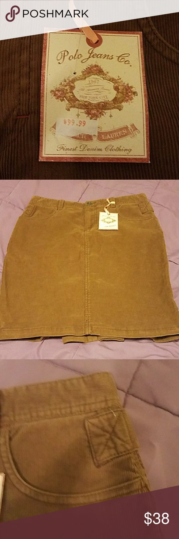 Corduroy NWT skirt by polo jeans Ralph Lauren NWT polo jeans company corduroy skirt. Medium brown extra pleats in the back for bending over. polo jeans company Skirts Pencil