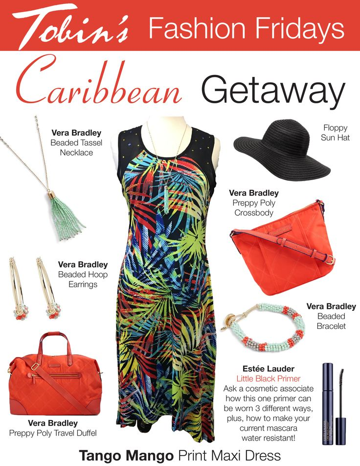 Caribbean Getaway: Tango Mango Maxi Dress with Vera Bradley Preppy Poly Travel Tote and Vera Bradley Jewelry.  Find the entire outfit at Tobin's in Oconomowoc, WI.