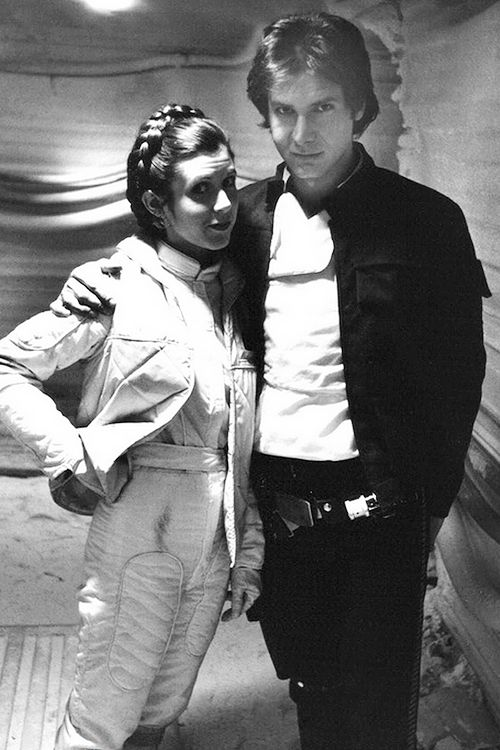 """deadhpool: """"  Harrison Ford and Carrie Fisher behind the scenes of Star Wars: Episode V - The Empire Strikes Back (1980) """""""