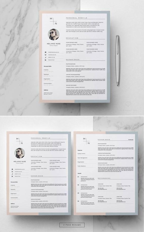 Minimalist Resume Template Word Creative Resume With Photo Etsy Minimalist Resume Template Teacher Resume Design Resume Design