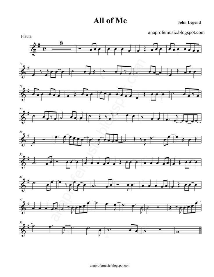 Partitura All of me para Flauta, violín, oboe - John Legend Sheet Music