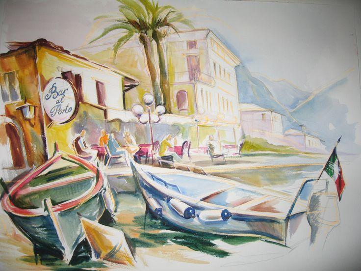 Olga Vinnitskaya. Aquarell Limone, Gardasee. Etudes en plein air.