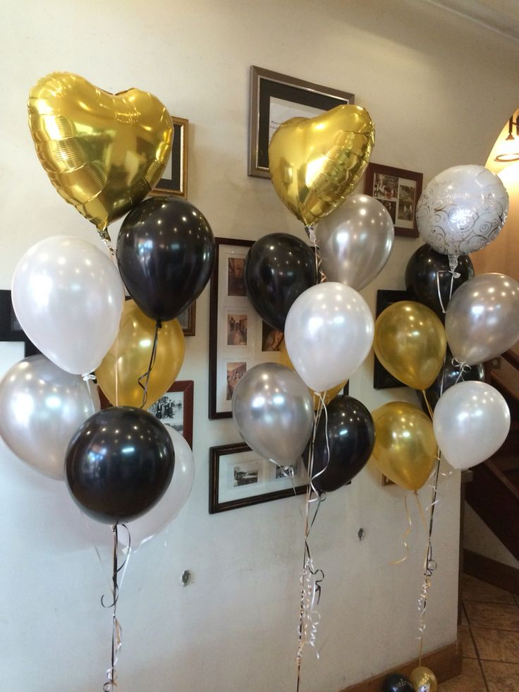 """Engagement balloons! Feature foil arrangement alternating Gold heart and White """"congratulations on your engagement"""" with an elegant Black/White/Gold colour scheme"""