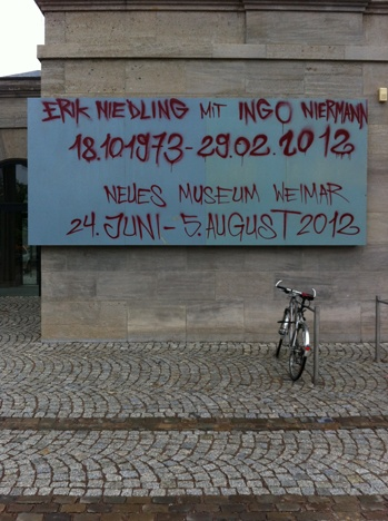 Erik Niedling with Ingo Niermann  10/18/1973—02/29/2012    Neues Museum Weimar    Juni 24 till August 5, 2012  Opening Sat., June 23, 7 p.m.