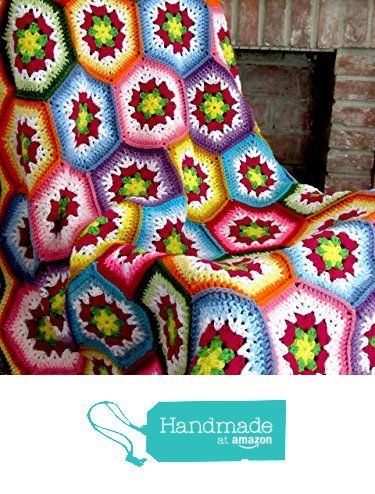 Handmade crochet Hexagon Flowers blanket, afghan. Size approximately 47 inches by 60inches from Crafty Barn https://www.amazon.com/dp/B01BSVYFM8/ref=hnd_sw_r_pi_dp_Xgs6xbWK61GD0 #handmadeatamazon