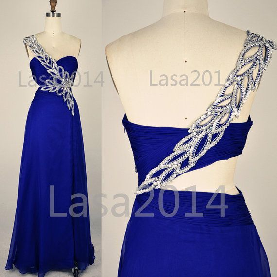 Blue Prom Dresses Long Prom Dress One Shoulder Royal by LASA2014, $169.00