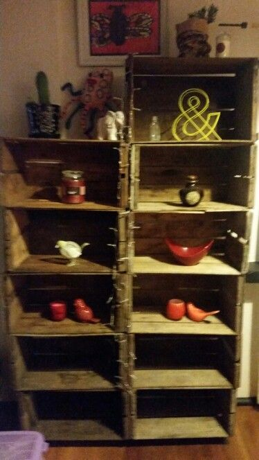 Old milk crates turned into a new shelf x