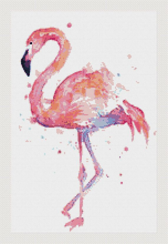 Flamingo cross stitch modern pattern flamenco punto de cruz