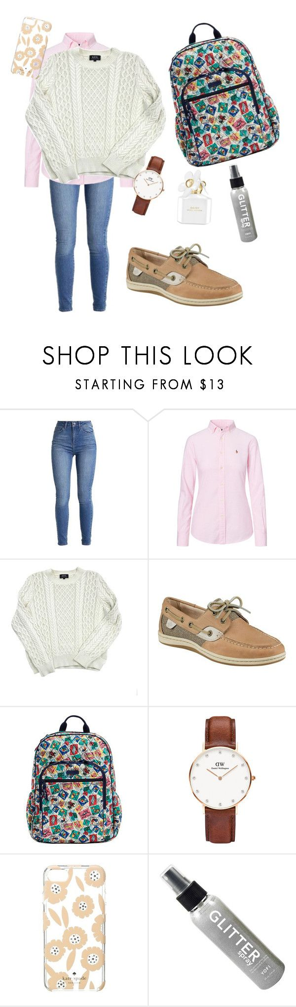 """Preppy school outfit #3"" by abbirwilliams on Polyvore featuring Ralph Lauren, A.P.C., Sperry, Vera Bradley, Daniel Wellington, Kate Spade and Marc Jacobs"