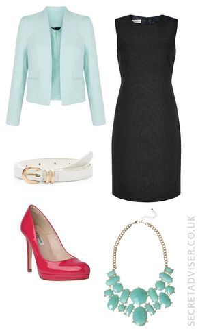 Navy dress with mint green accessories outfit idea