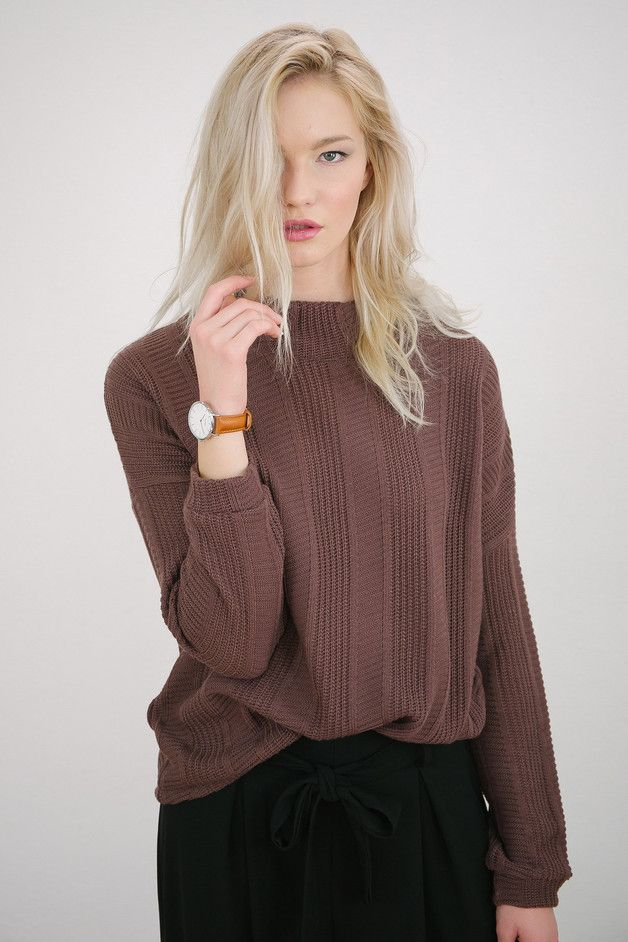 Sweaters & Vests – Strickpullover Zoey aubergine lila – a unique product by Shoko on DaWanda