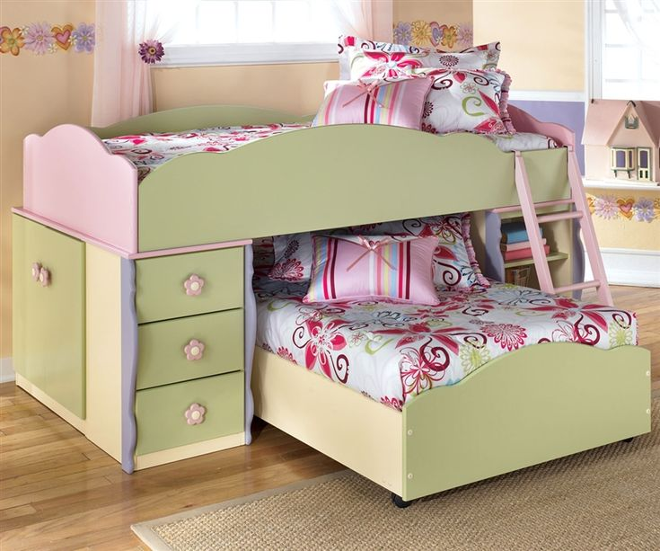 innovative toddler girl bedroom sets | Ashley Furniture Doll House Loft Bed with Built-In Dresser ...