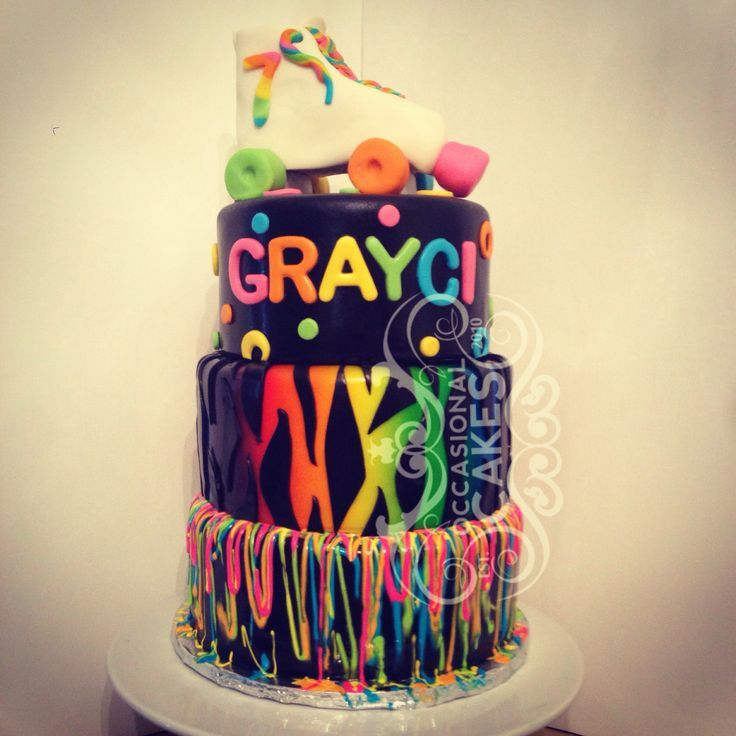 neon birthday party cake - Google Search