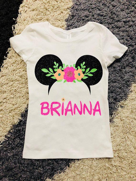 c6d33967421 Minnie Mouse... Flower Crown.. Castle.Disney Glitter Vinyl Shirt..Disney  Family Shirts.Disney Custom Shirt.Disney Vacation.. Flower ears