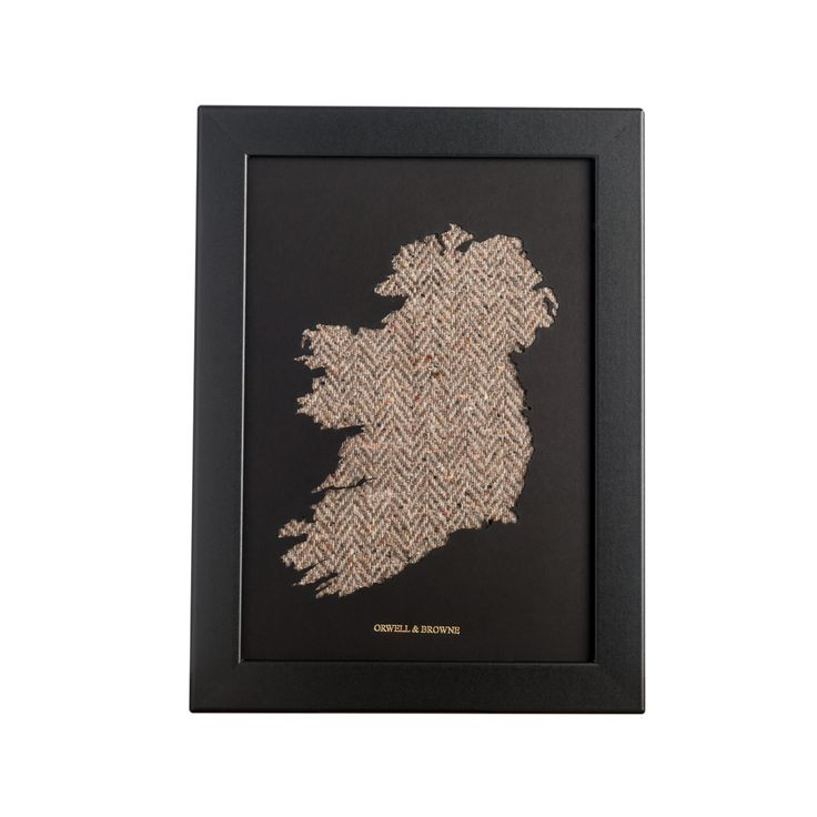 """Glorious Moorland"" - Map of #Ireland with luxurious Donegal #tweed underlay. Designed and handmade in Ireland."
