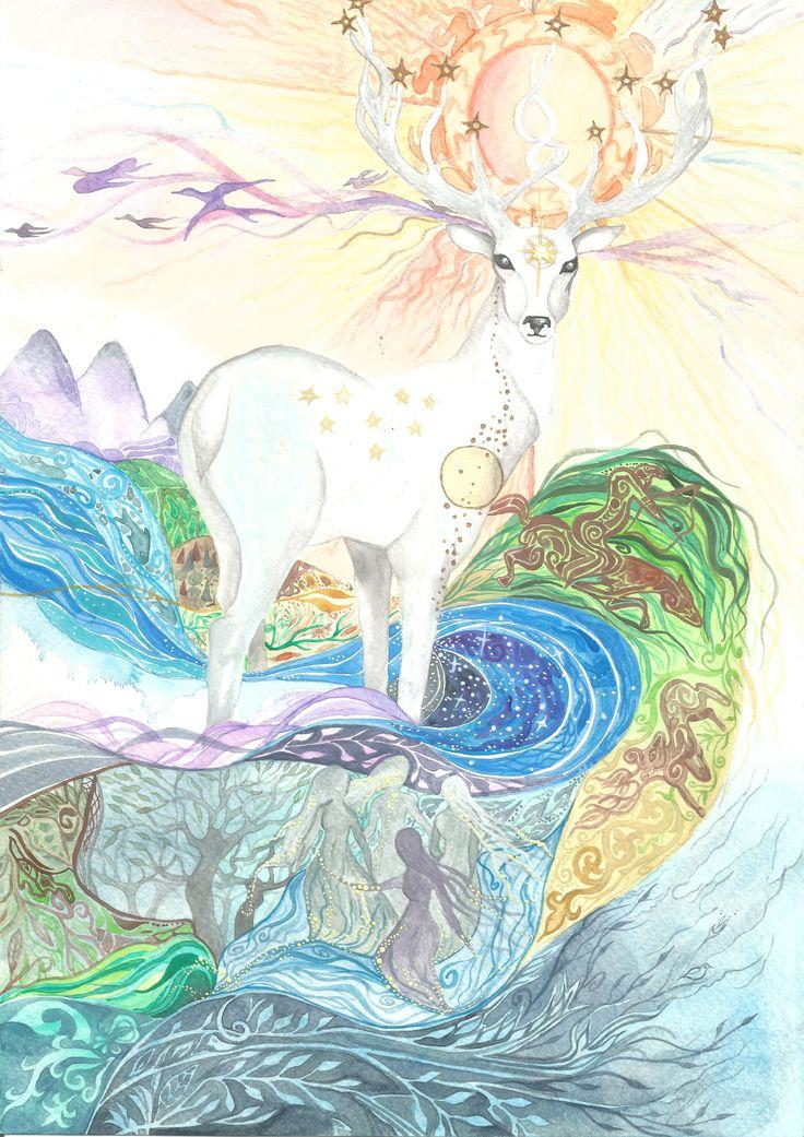 """Miraculous Deer"" Hungarian legend watercolor by Bencze Anita Turquoise Janina illustration"