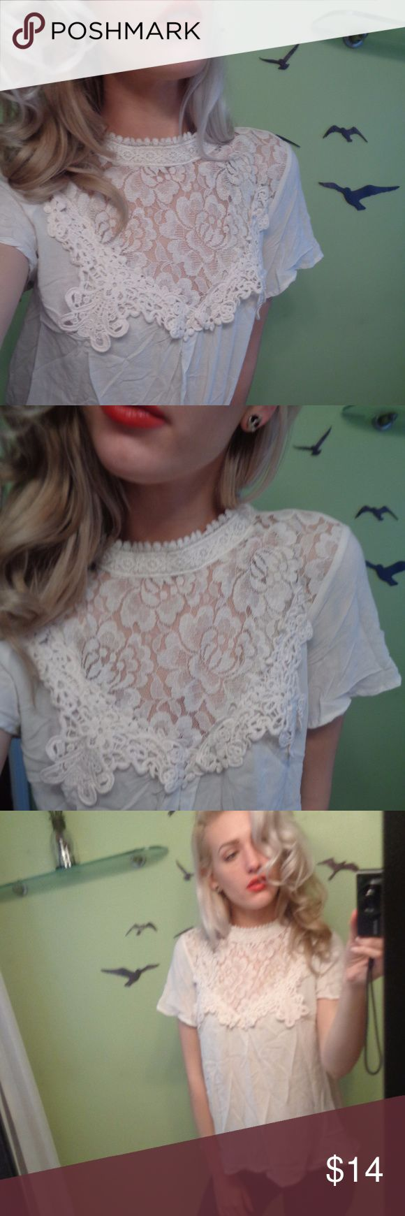 Clover & scout ivory lace top t shirt blouse high Clover + Scout ivory cream white lace front high neck shirt top blouse Single button behind neck, size Med  *TAGS- love lemons, stone cold fox, American rag eagle, free people, Forever 21, H&M, Hollister* Clover + Scout Tops Blouses