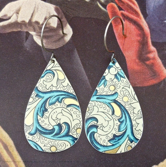Recycled Earrings made from a Vintage Tin Can