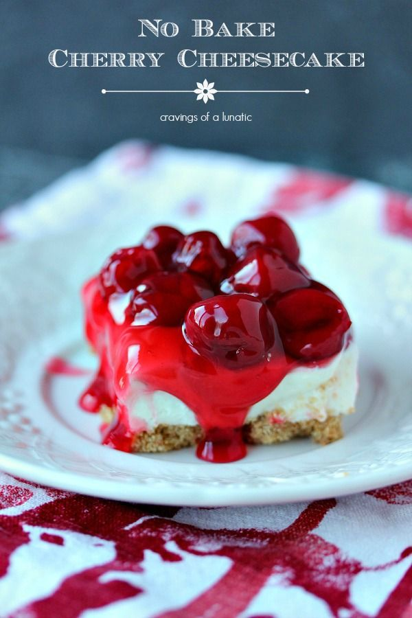 No Bake Cherry Cheesecake Bars {Real Housemoms} @FoodBlogs
