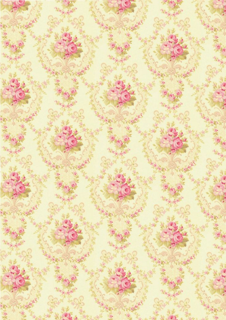 shabby chic wallpaper, yellow with pink flowers
