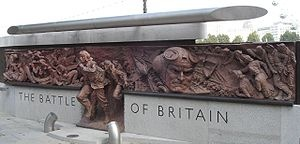 """The Battle of Britain Monument on the Victoria Embankment overlooking the River Thames in central London, pays tribute to those who took part in the Battle of Britain during WWII. Unveiled 18.9.2005, the 65th anniversary of the Battle, by HRH the Prince of Wales & HRH the Duchess of Cornwall in the presence of many of the surviving airmen known collectively as """"The Few"""", following the RAF Service of Thanksgiving & Rededication on Battle of Britain Sunday, an annual event since 1943."""