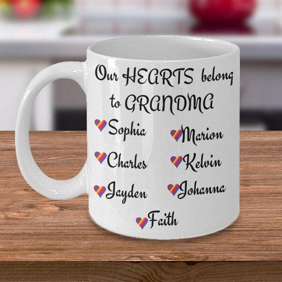 CUSTOM names personalized from Grandkids Coffee Mug Grandma Belongs to