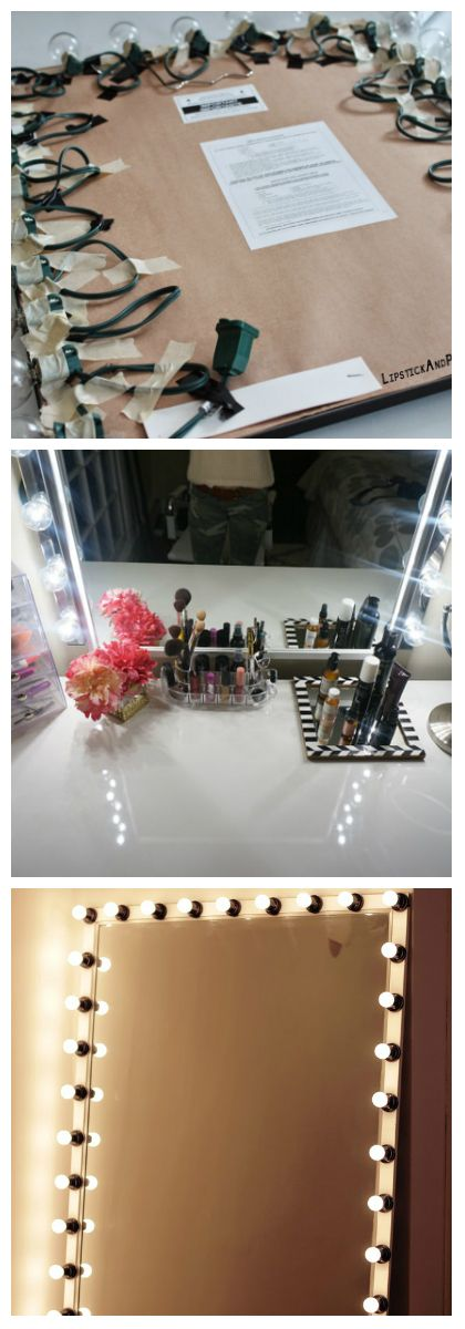 DIY Vanity Mirror With Lights is creative inspiration for us.   A lighted vanity mirror table is onevery girl's wish list. It is usually seen onfashion television shows where a makeup artist works with models in front of mirrors surrounded by light bulbs. It's the fantasy of every want-...