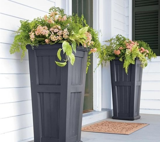 Tall Black front door planters