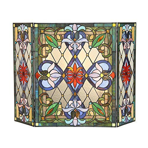 Chloe Lighting Tiffany Glass 3 Piece Folding Victorian Fireplace Screen 44 by 28 Multicolor -- Check out the image by visiting the link.