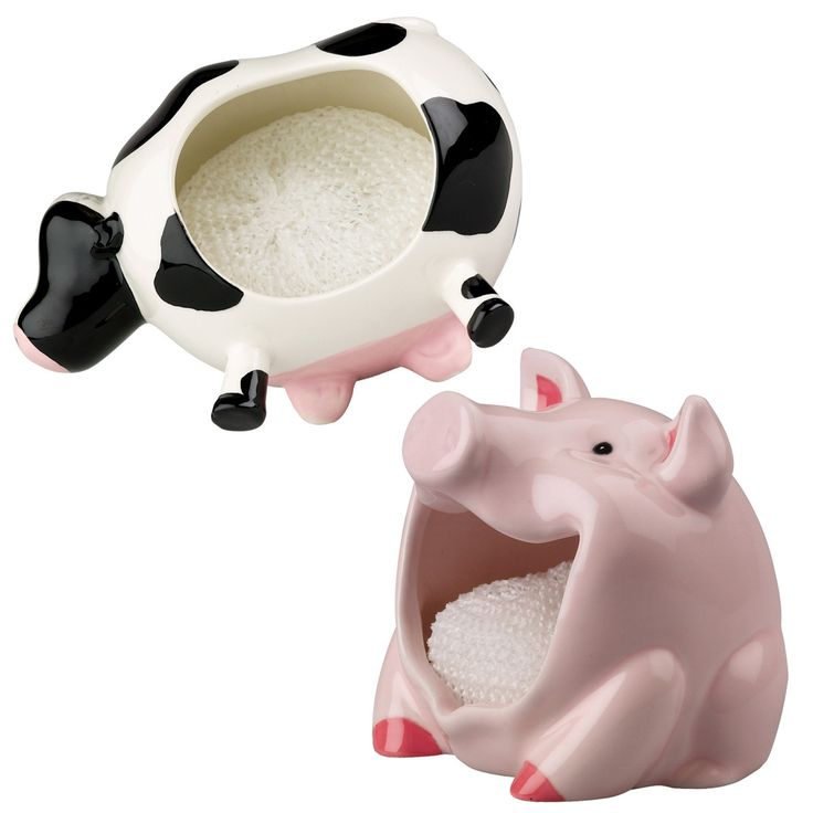 Boston Warehouse Pig And Cow Scrubby Holder Set Animal Kitchen Whutwhut